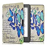 kwmobile Elegant synthetic leather case for the Kobo Aura Edition 2 Design butterflies writing in blue mint beige