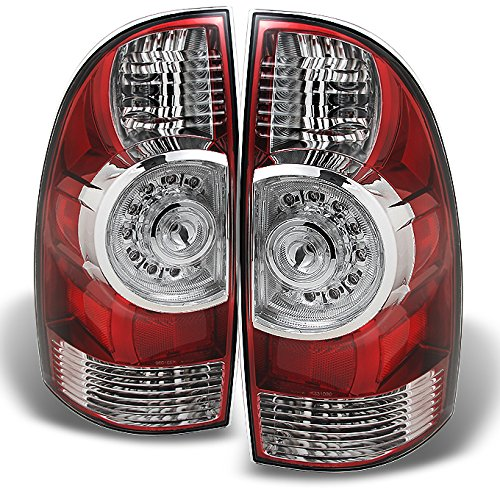 Pickup Rear Brake Light - Toyota Tacoma Pickup Truck Red Clear Rear Tail Lights Brake Lamps Replacement Pair Left + Right