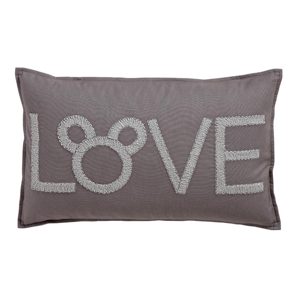 Ethan Allen Disney Mickey Mouse Love Pillow, Silver