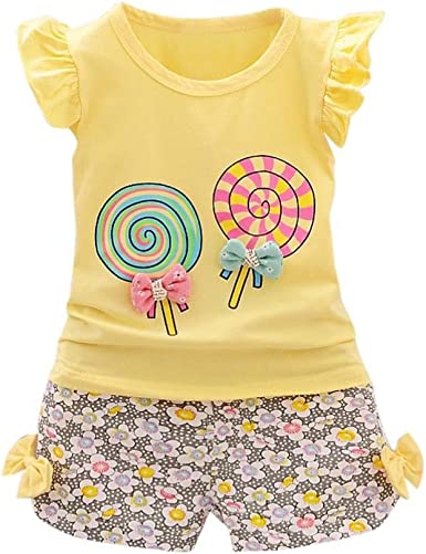 Dingji 2PCS Toddler Kids Baby Girls Outfits T-Shirt Tops+Short Pants Set