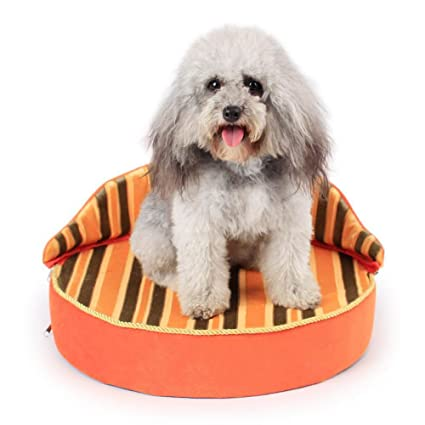 Dixinla Cama de Perro Corona Rayada de Mascotas sofá Perro de Animal doméstico Gato Alta Posterior