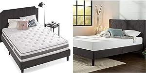 Zinus 10 Inch Gel-Infused Memory Foam Hybrid Mattress, Full & Shalini Upholstered Diamond Stitched Platform Bed/Mattress Foundation/Easy Assembly/Strong Wood Slat Support/Dark Grey, Full
