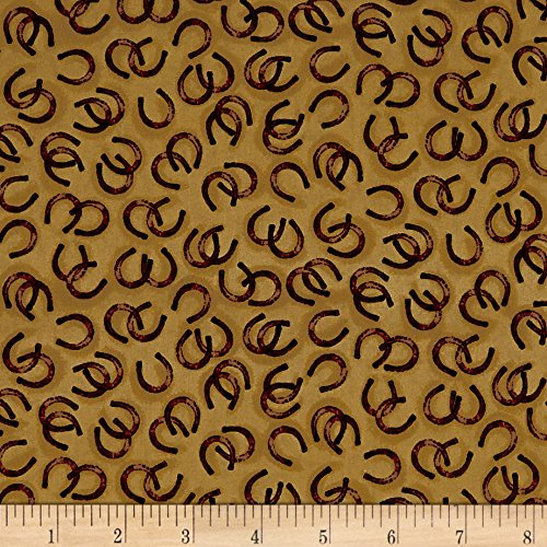 (Fabric & Fabric QT Round 'Em Up Horseshoes Dark Chamois Fabric by The Yard)