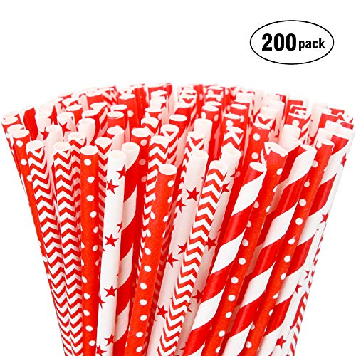 Hiware 200 Pack Biodegradable Bulk Red Paper Straws - 4 Different Patterns Drinking Straws for Beverage, Christmas, Celebrations, Holiday, Birthday, Wedding, Baby Shower, Party and Decoration