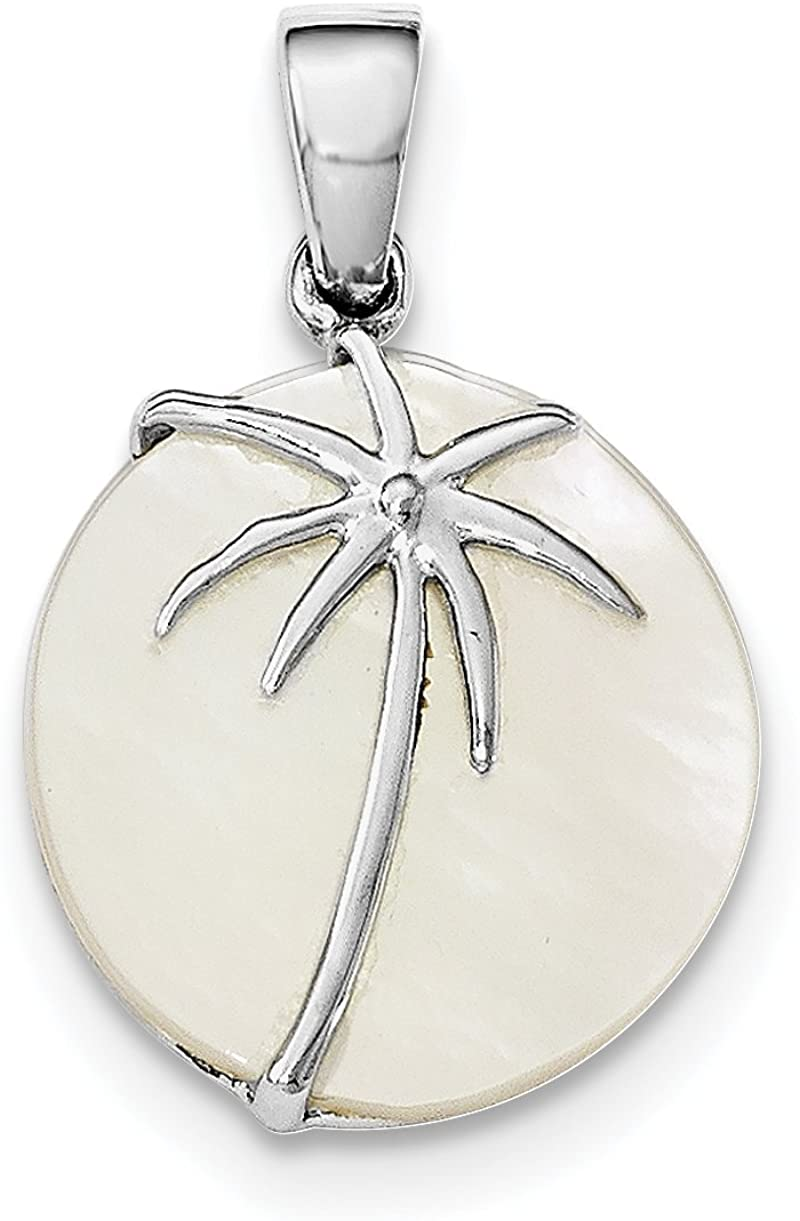925 Sterling Silver Rhodium Plated MOP Palm Tree Round Pendant Ideal Gifts For Women