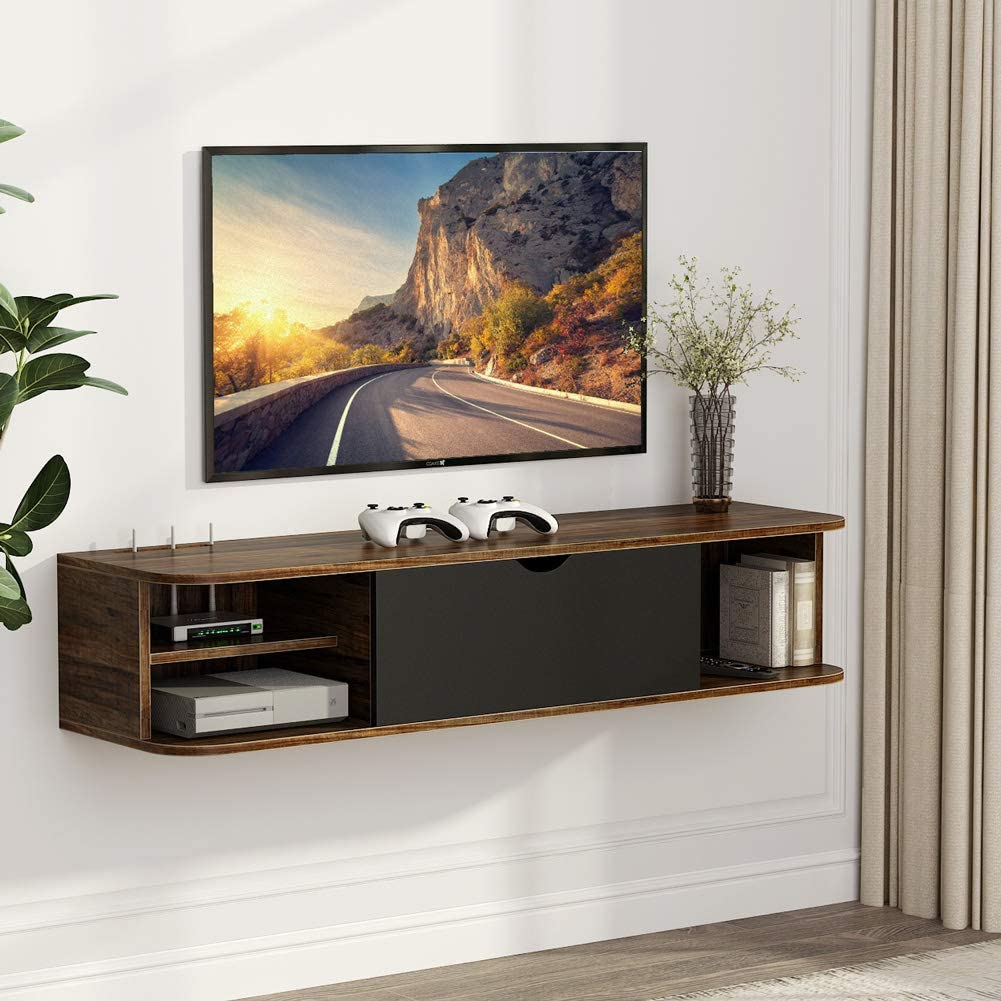 8 - Best Floating shelf for TV and Consoles: Tribesigns Rustic Wall Mounted TV shelf
