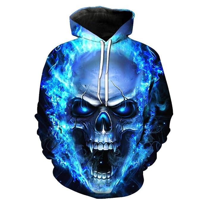 Bestow Sudadera con Capucha Tops Blusa con Capucha de Manga Larga con Capucha y Unisex Unisex 3D Printed Skull Pullover: Amazon.es: Ropa y accesorios