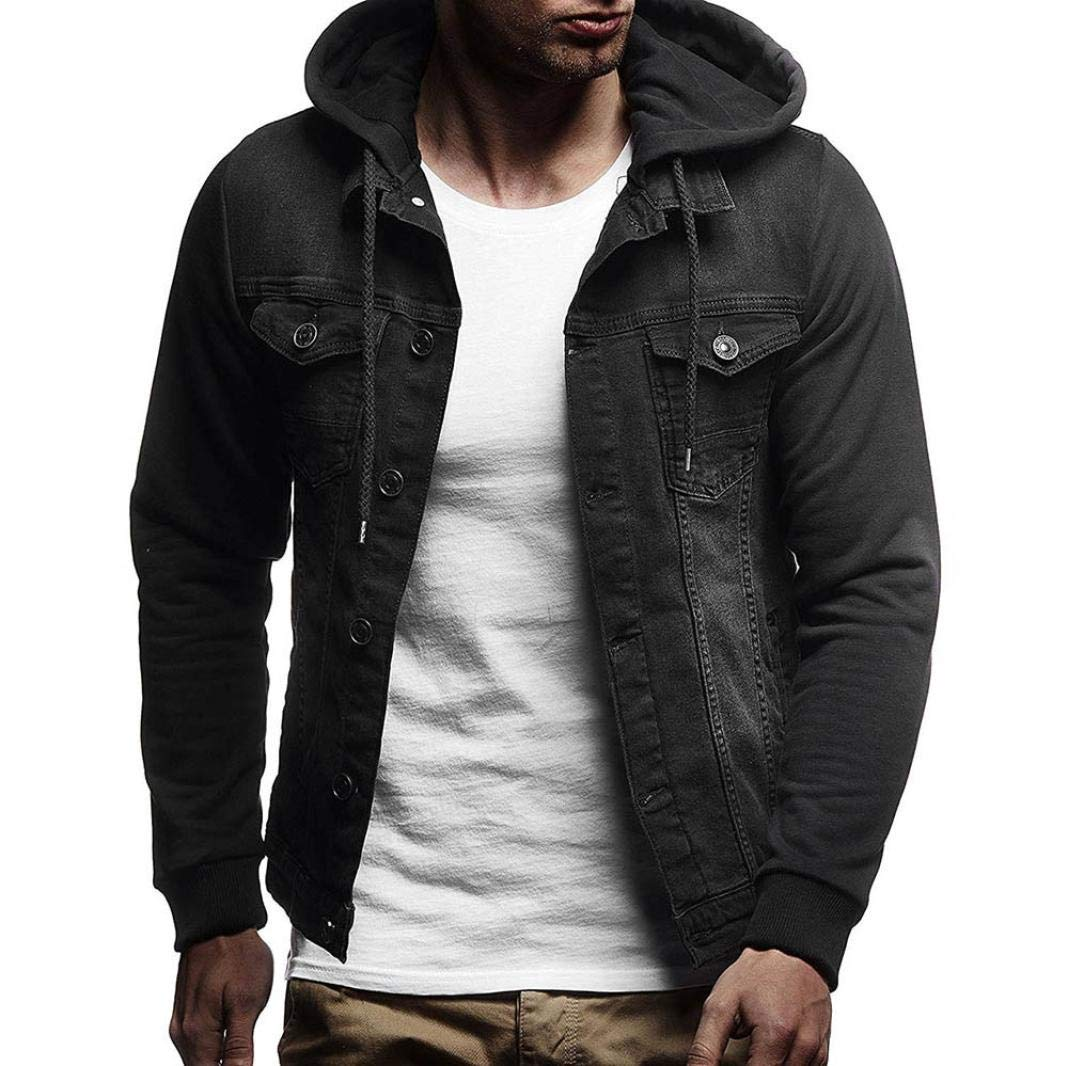 iZHH Mens Autumn Winter Coat Outwear Jacket Hooded Vintage Distressed Denim Tops(Black,US-M)