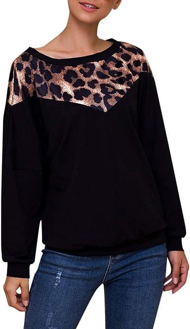 beautyjourney Sudadera de Patchwork de Leopardo de Manga Larga para Mujer Camiseta Blusa Jersey Holgado Camisa de Manga Larga con Cuello Redondo: Amazon.es: Ropa y accesorios