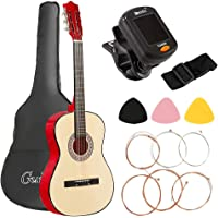 38'' Acoustic Guitar Classical Folk Guitar, Gifts for Beginners(with Tuner String Pick Bag Strap)