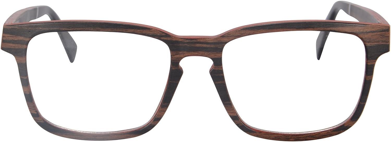 MEDOLONG Wood Rectangle Frame Anti Blue Light Reading Glasses-FR73008