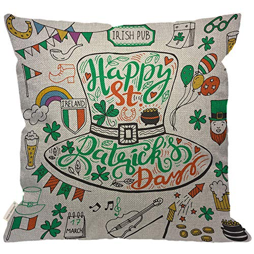 HGOD DESIGNS Saint Patricks Day Pillow,Irish Music Flags Beer Mugs Clover Pub Rainbow Leprechaun Hat Pot of Gold Coins Decorative Couch Sofa Burlap Pillow Cases for Women/Girls Room 18x18 Inch