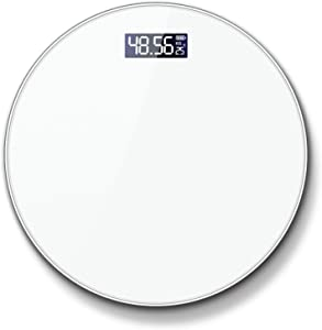 YYZZ Body Weight Scale, Round Body Index Electronic Smart Weighing Scales Bathroom Body Scale Digital Human Weight White Mi Scales Floor LCD Display