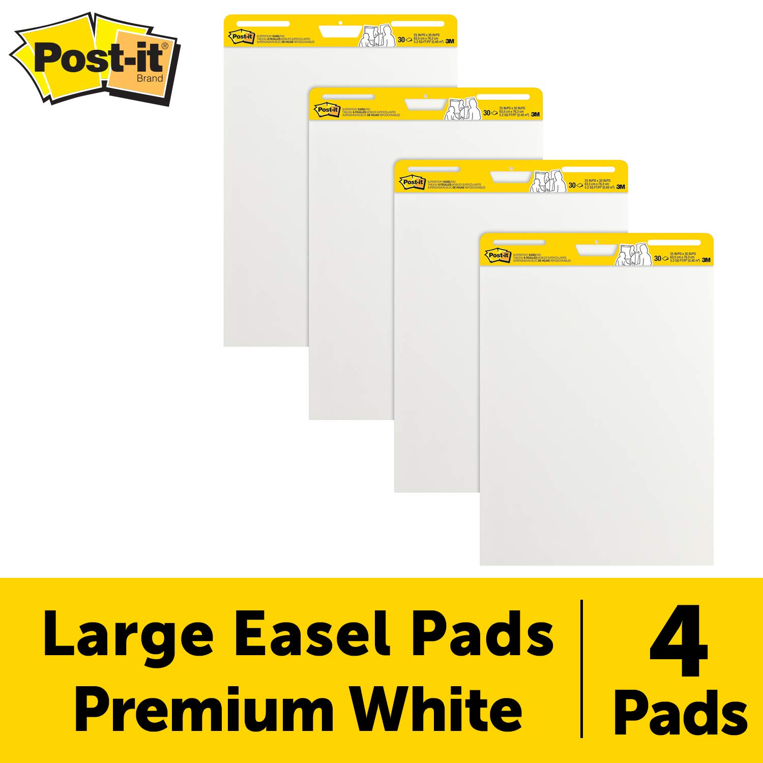 Post-It Super Sticky Easel Pad, 25 x 30 Inches, 30 Sheets/Pad, 4 Pads, Large White Premium Self Stick Flip Chart Paper, Super Sticking Power (559-4) by Post-it