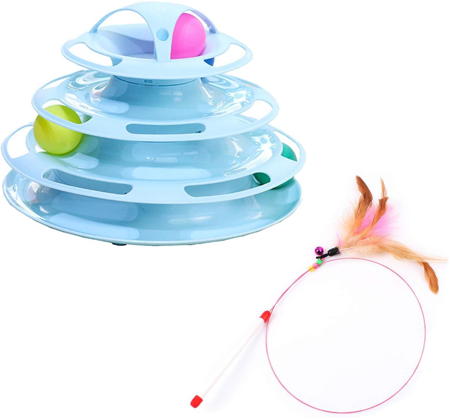 LLOVER Juguete para Gatos Y Palo De Gato Divertido, Juguete Interactivo para Gatos 4 Torres De Nivel Rieles Rodillo con 4 Bolas De Colores, Material PP (Azul Rosa)
