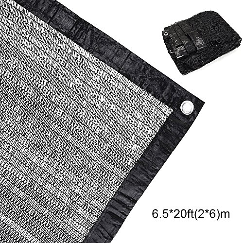 70% Sunblock Shade Cloth Net Black UV Resistant, Garden Shade Mesh Tarp for Plant Cover, Greenhouse, Barn or Kennel, Top Shade Cloth Quality Panel for Flowers, Plants, Patio Lawn (6.5×20ft(2×6m))