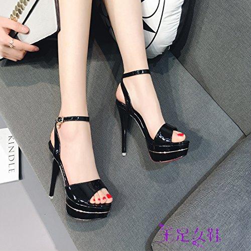 Xing Lin Zapatos De Verano Para Las Mujeres Cuñas Sandalias De Tacón Alto De Mujeres Nueva Multa De Verano Con Boca De Pescado 12Cm Una Noche Zapatos Impermeables Black Small 12 cm
