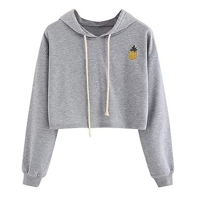 Cropped Hoodie Appliques Pinapple Sweatshirt Long Sleeve Pullover Tops Sudaderas: Ropa y accesorios