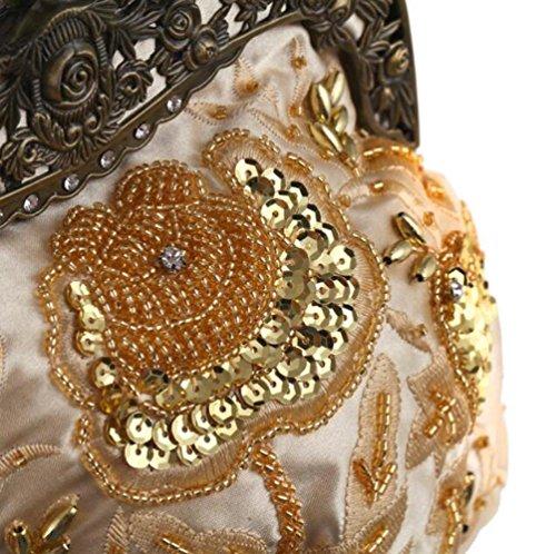 Broderie Cheongsam Perlé Wlfhm Porte Soirée Mariée monnaie De Satin Black Vintage Mesdames Sac z0qwO0