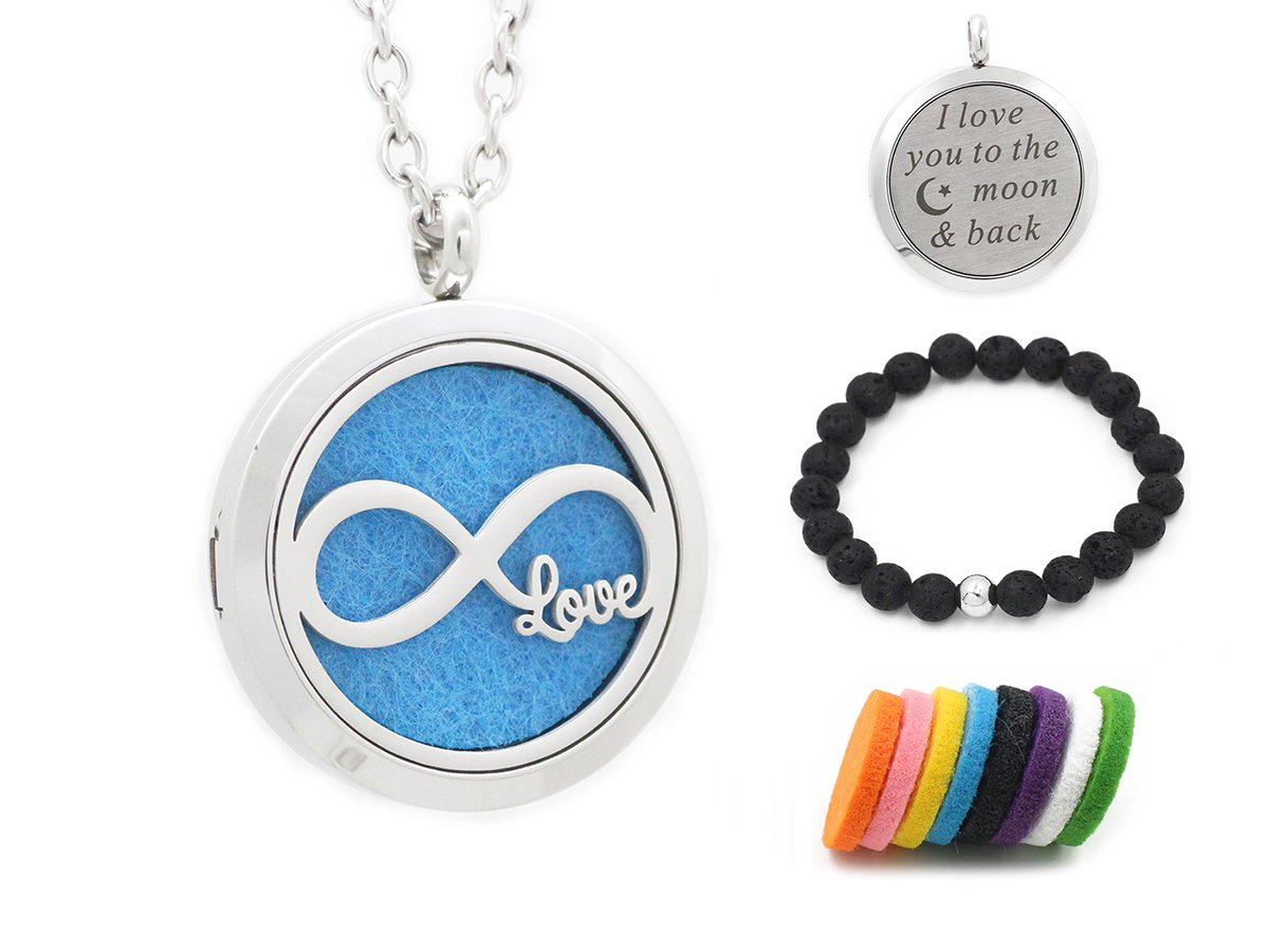Essential Oil Diffuser Necklace Lava Rock Stone Bracelet Set-Aromatherapy Locket Pendant-30mm 316L Stainless Steel Perfume Fragrance Pendant for Women-24'' Chain+8 Refill Pads (Infinity Love)