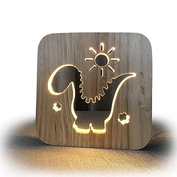 Amazon.com: Hueco con forma de dinosaurio de madera lámpara ...