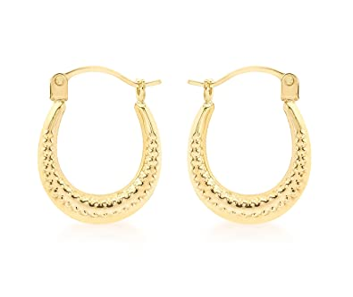 Carissima Gold 9ct Yellow Gold Patterned Creole Earrings FXqUuS