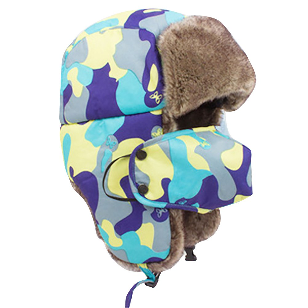 Bluelans® Quality Unisex Winter Warm Outdoor Faux Fur Trapper Hat Ear Flap Bomber Hat with Mask, Available in 12 Colours