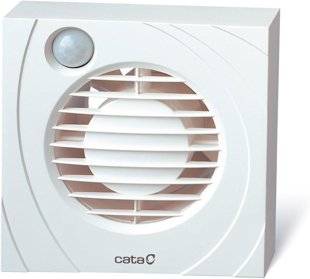 CATA B 10 PIR - Extractor de aire axial con sensor de infrarrojos, temporizador, se activa sin interruptor gracias a su detector de proximidad, 100 mm