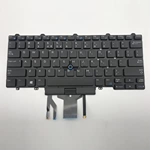 Sierra Blackmon New Black US Layout Laptop Replacement Backlit Keyboard with Point Stick for Dell Latitude 14 5000 (E5450) (E5470) 14 7000 (E7450) (E7470) Series Replacement Part Number PK1313D4B00