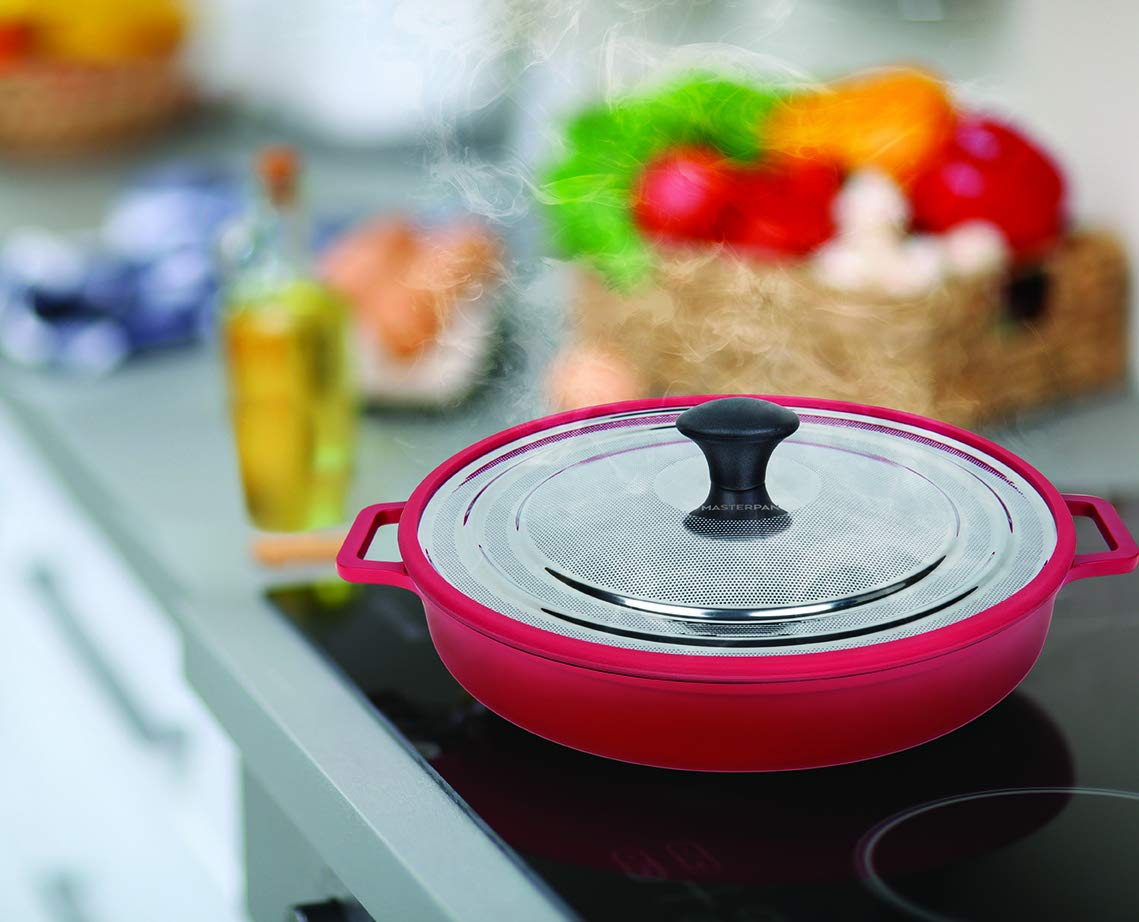 MasterPan Non-Stick Stovetop Oven Grill Pan with Heat-in Steam-Out Lid, nonstick cookware, 12'', Red, MP-106 by Master Pan (Image #7)