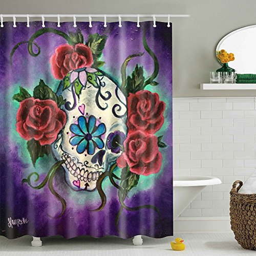 (Messagee Unique and Generic Sugar skull tattoo Shower Curtain Custom Printed Waterproof fabric Polyester Bath Curtain 72