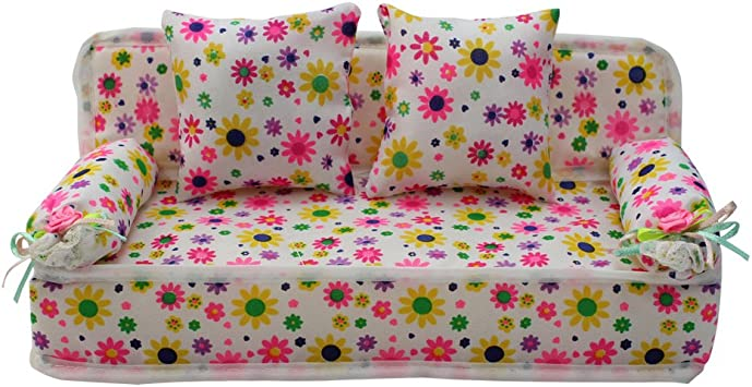 Mini Flower Furniture Sofa Couch /& 2pcs Cushions For Barbie Doll House Accessory