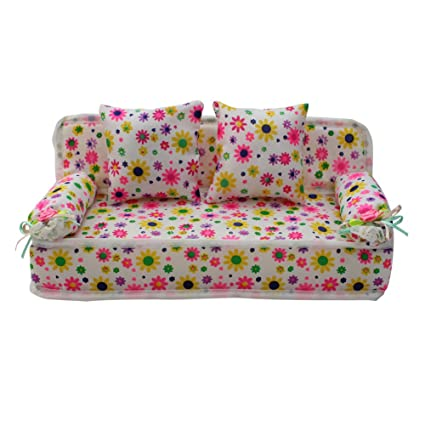 ReFaXi Lovely Miniature Furniture Flower Print Sofa Couch With 2 Cushions  For Barbie Flower, 8.50