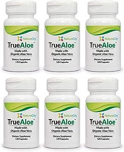 True-Aloe 40,000mg Gel Equivalent Per Capsule – Made with Organic Aloe Vera (6)