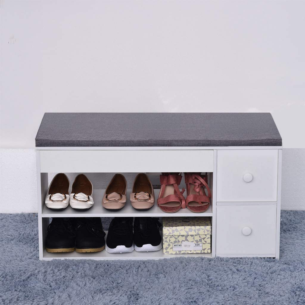 2-Tier Change Shoes Bench Entryway Storage Shoe Rack Cushion Design Organizer Stool with Two Drawers,Ship from US Warehouse