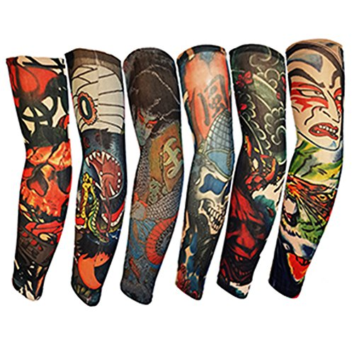 Efivs Arts Samurai Style Temporary Tattoo Sleeves Fake Tattoo Temporary Tattoo Arm Stockings, 6 Pcs -