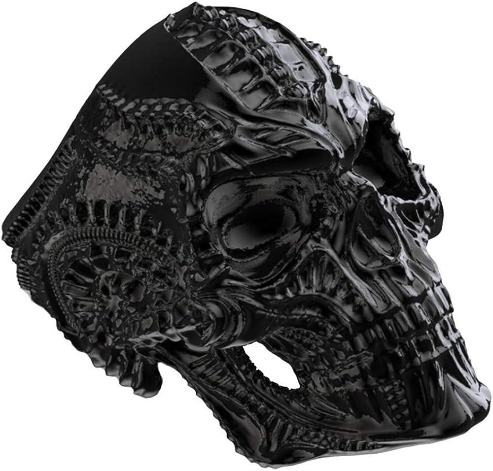 SINLEO New Mens Stainless Steel Skull Head Ring Punk Skeleton Biker Band Vintage Silver Black Jewelry