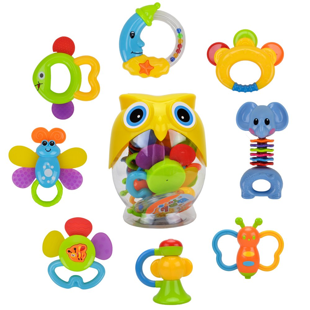 Teether Rattle Set Baby Toy - Happytime SLE84822 (2018 New Design)8pcs Latest Rattle & Teether Toys with Adorable Color in Owl Bottle Gift for Newborn Baby by Happy-Time (Image #1)