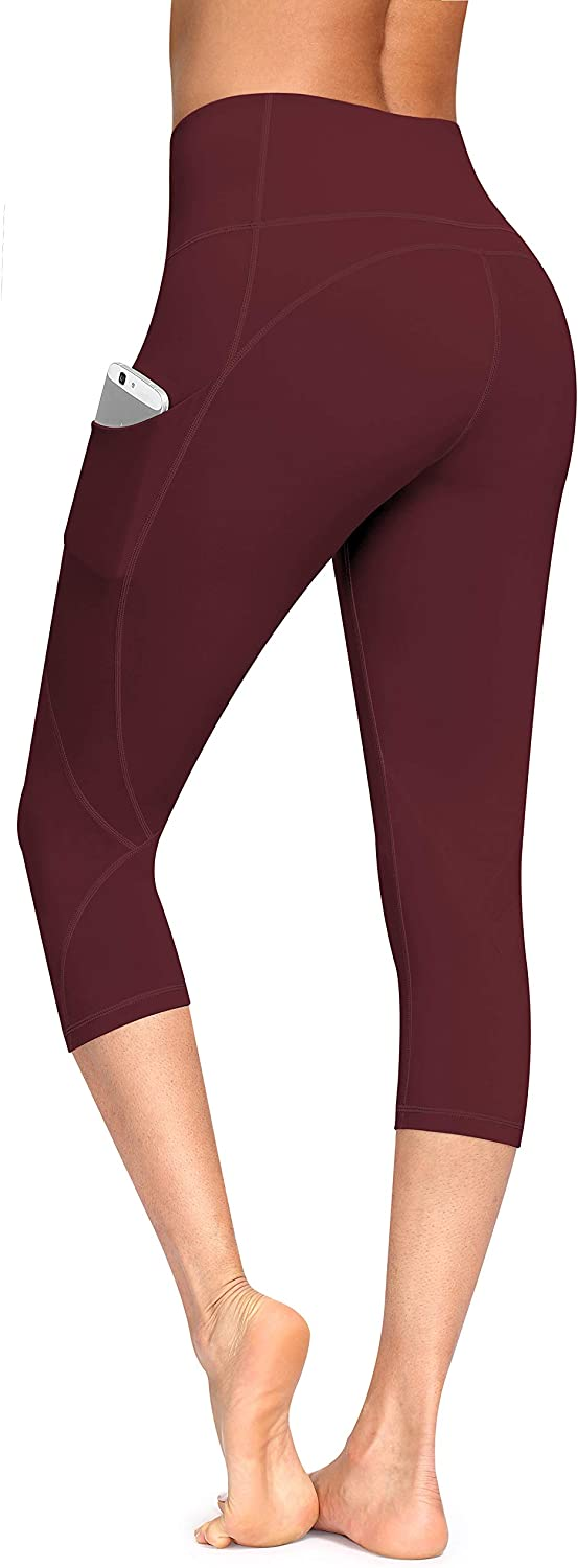 Lingswallow High Waist Yoga Pants - Yoga Capris with Pockets 4 Ways Stretch, Tummy Control Capri Workout Leggings for Women
