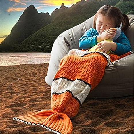 clownfish cola manta para niños nemo pez cola de ganchillo hechos a mano tejido de punto manta linda chica verano saco de dormir - naranja: Amazon.es: Hogar