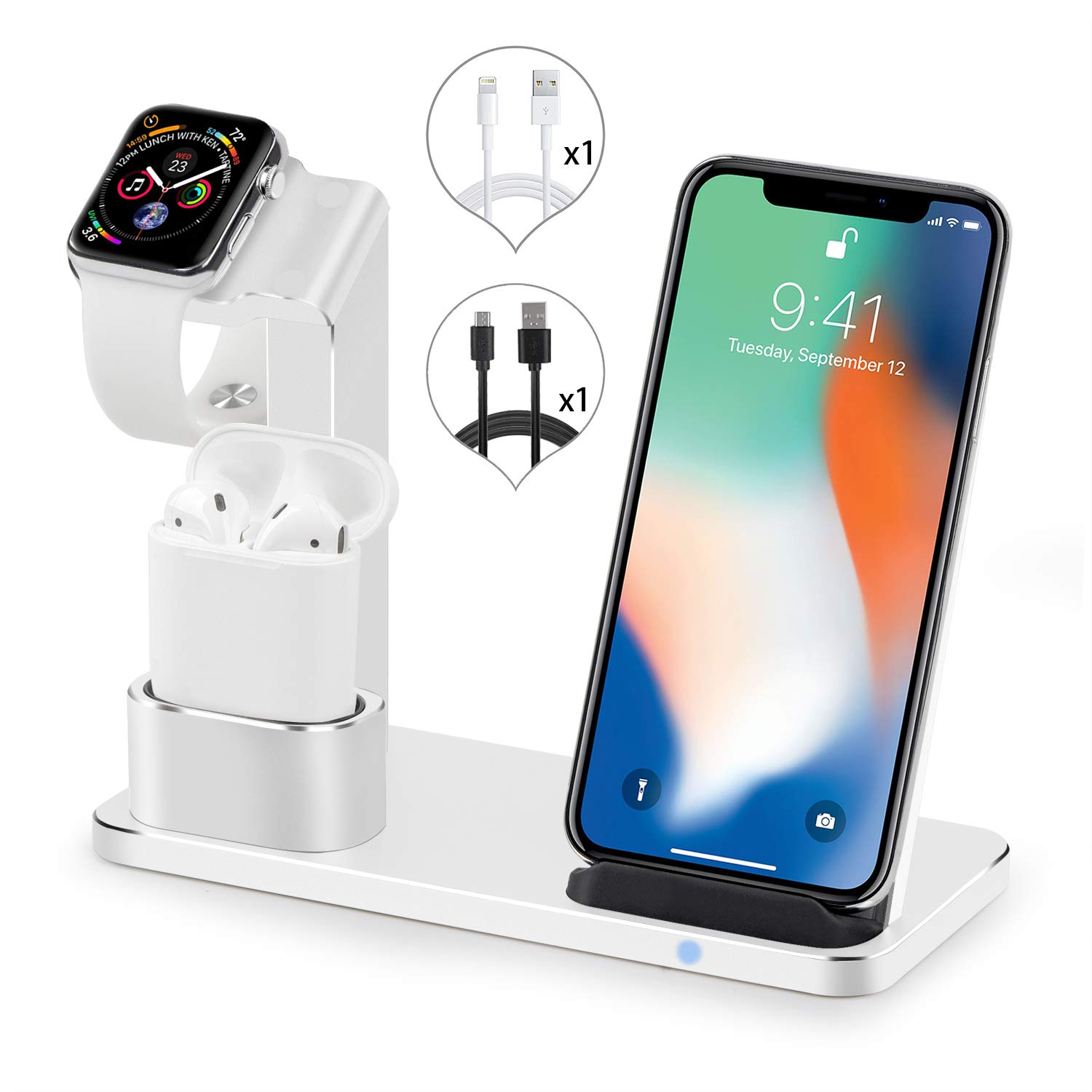 SENZLE Watch Stand Wireless Charger,3 in 1 Aluminum Fast Wireless Charger Charging Stand Dock Station for iPhone X/XS Max/Xr/8/8+/ iWatch Series 4/3/2/1/ Airpods【iWatch Charge Cable unincluded】-Silver