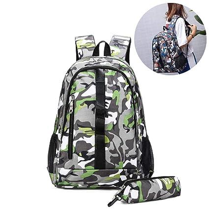2 piezas set adolescentes mochilas,Camuflaje Mochila de gran capacidad,Beatie escolares lona estampados