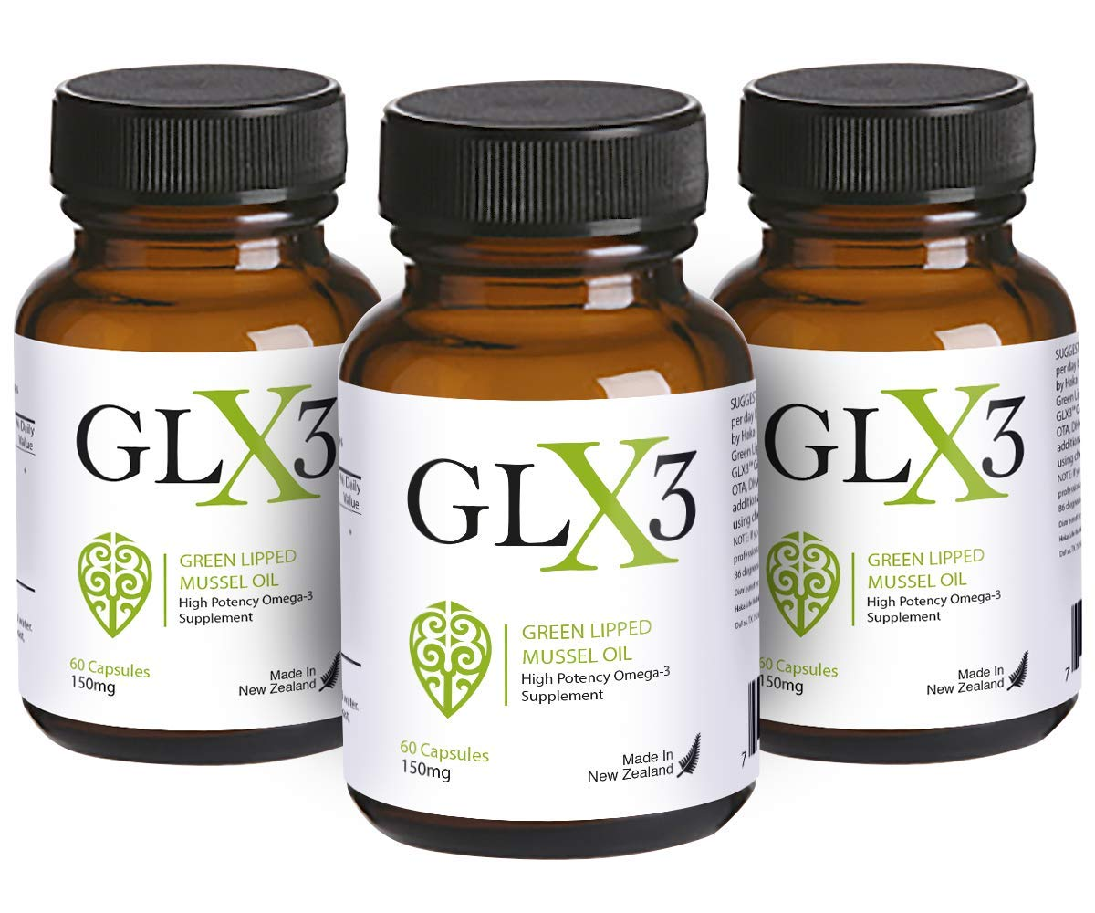 GLX3 3 Pack - Extra Strength Green Lipped Mussel Oil Capsules - Green Mussel New Zealand Oil & Joint Supplements - Natural No Fish Burp Oil - Arthritis Pain Relief & Joint Pain Relief - 60 Tablets by HAKA Life Nutrition
