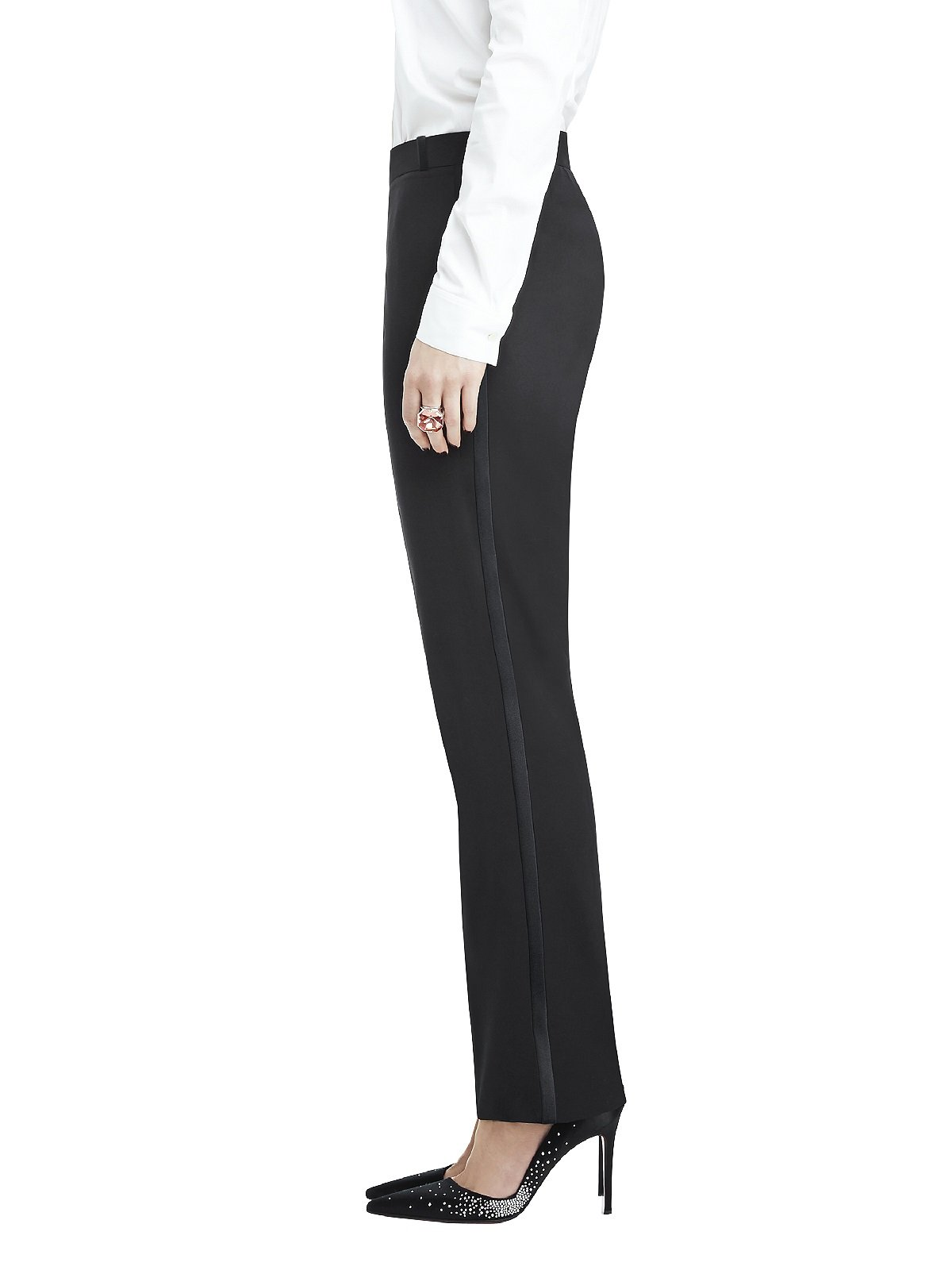 Marlowe Women's Slim Wool Tuxedo Pant with Satin Stripe by Dessy Group - Black - Size 18