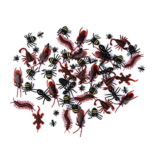 DE-150 Pieces Plastic Realistic Bugs - Fake Cockroaches, Spiders, Scorpions and Gecko for Halloween Party Favors and Decoration. -