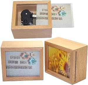 Pursuestar You are My Sunshine Wood Photo Frame Windup Clockwork Music Box for Birthday/Christmas/Valentine's Day/Wedding/Home Decor/Musical Gift
