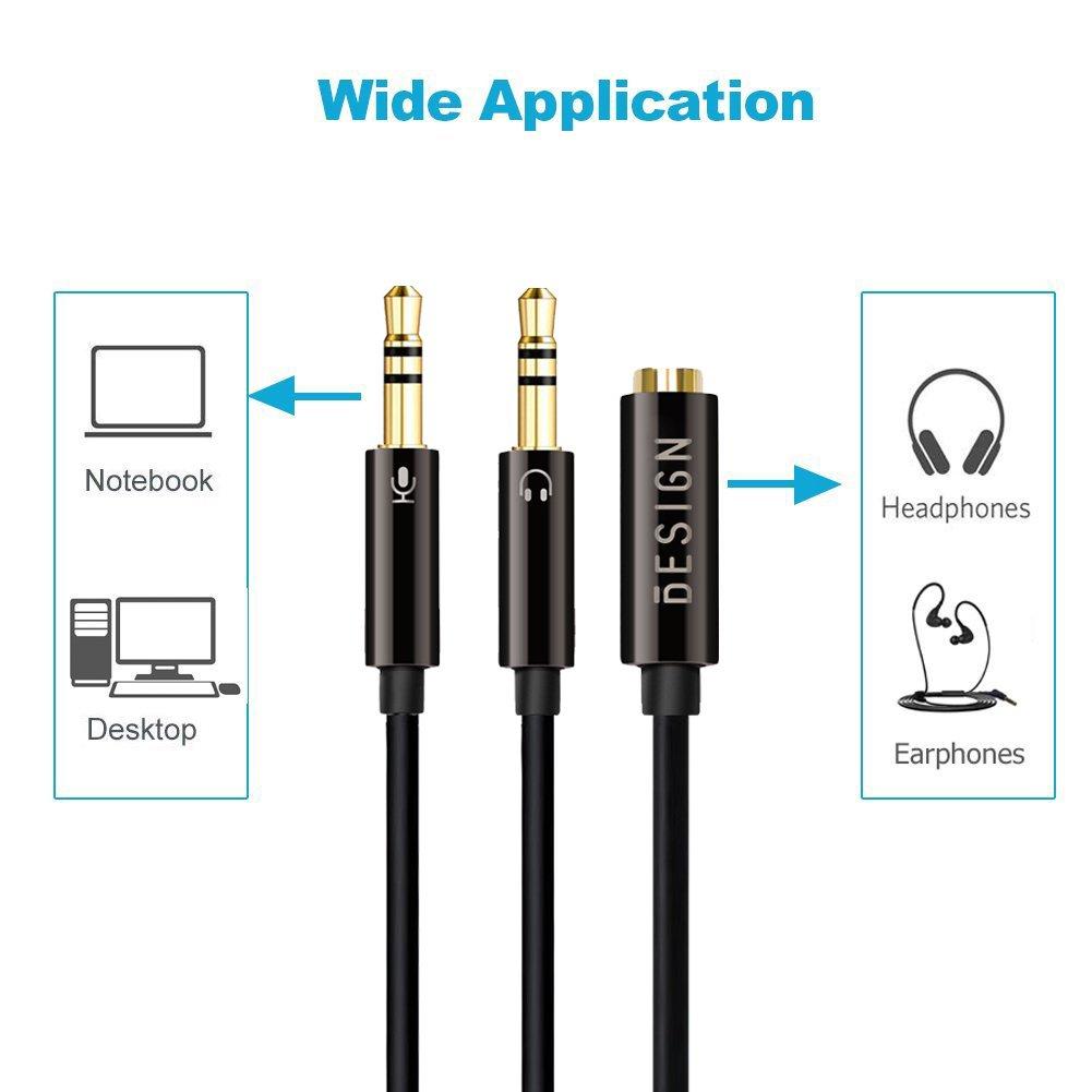 2 Clavijas de Auricular// Micr/ófono Separadas 3,5mm Macho a Mic y Audio 3.5mm Hembra Besign 2-Pack Cable de Adaptador Divisor para Auriculares Est/ándar CTIA