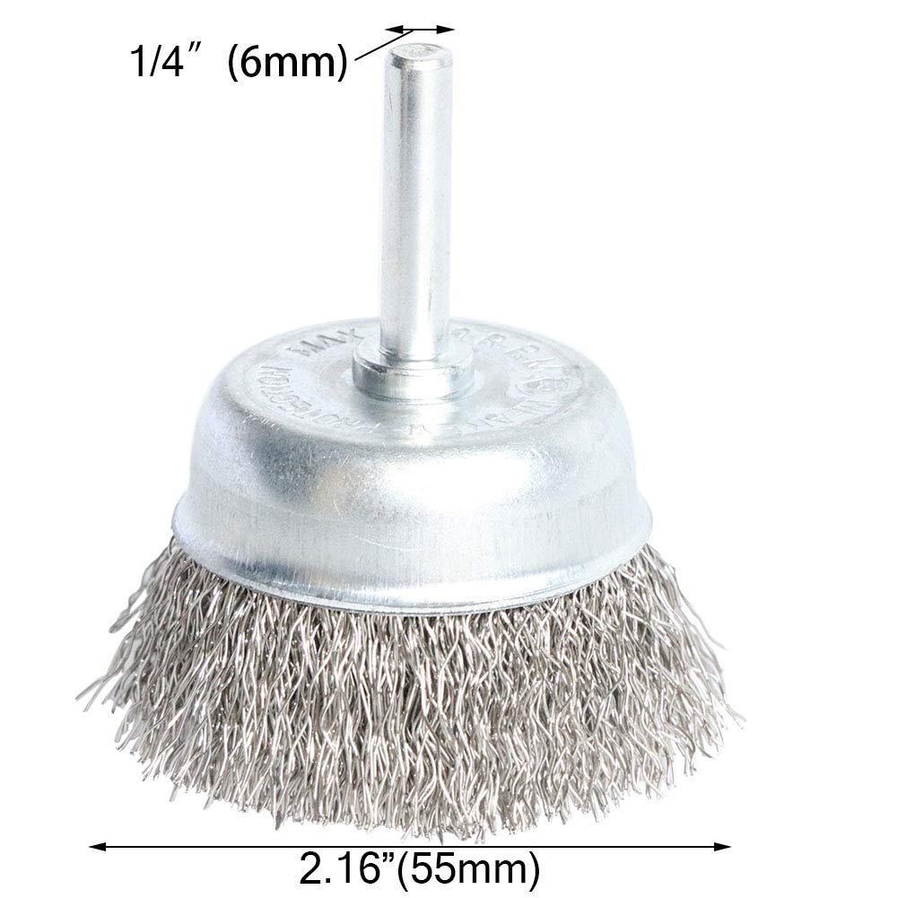 FPPO 7PCS Stainless Steel Wire Wheel Brush Coarse Crimped Cup Brush and End Brush Kit