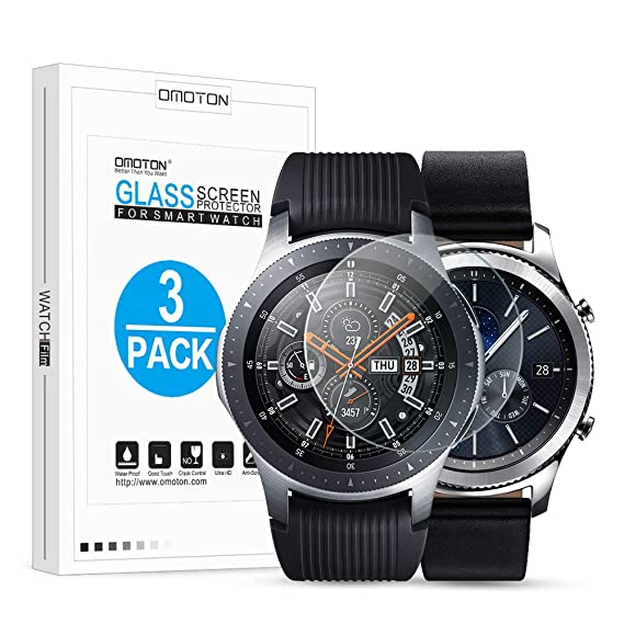 d6bd2d4c27986 Image Unavailable. Image not available for. Color  OMOTON Tempered Glass  Screen Protector Compatible Samsung Gear S3   Galaxy Watch ...