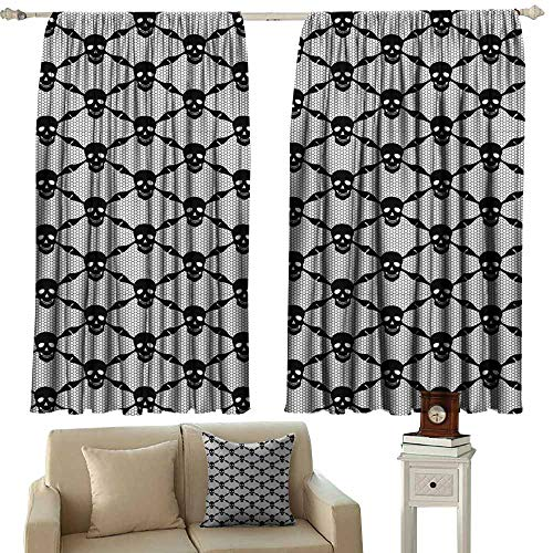 Kids Room Curtains Gothic Halloween Horror Theme Spooky Black Skulls Checkered Pattern with Skeleton Bones Black White Blackout Draperies for Bedroom Window W72 xL108